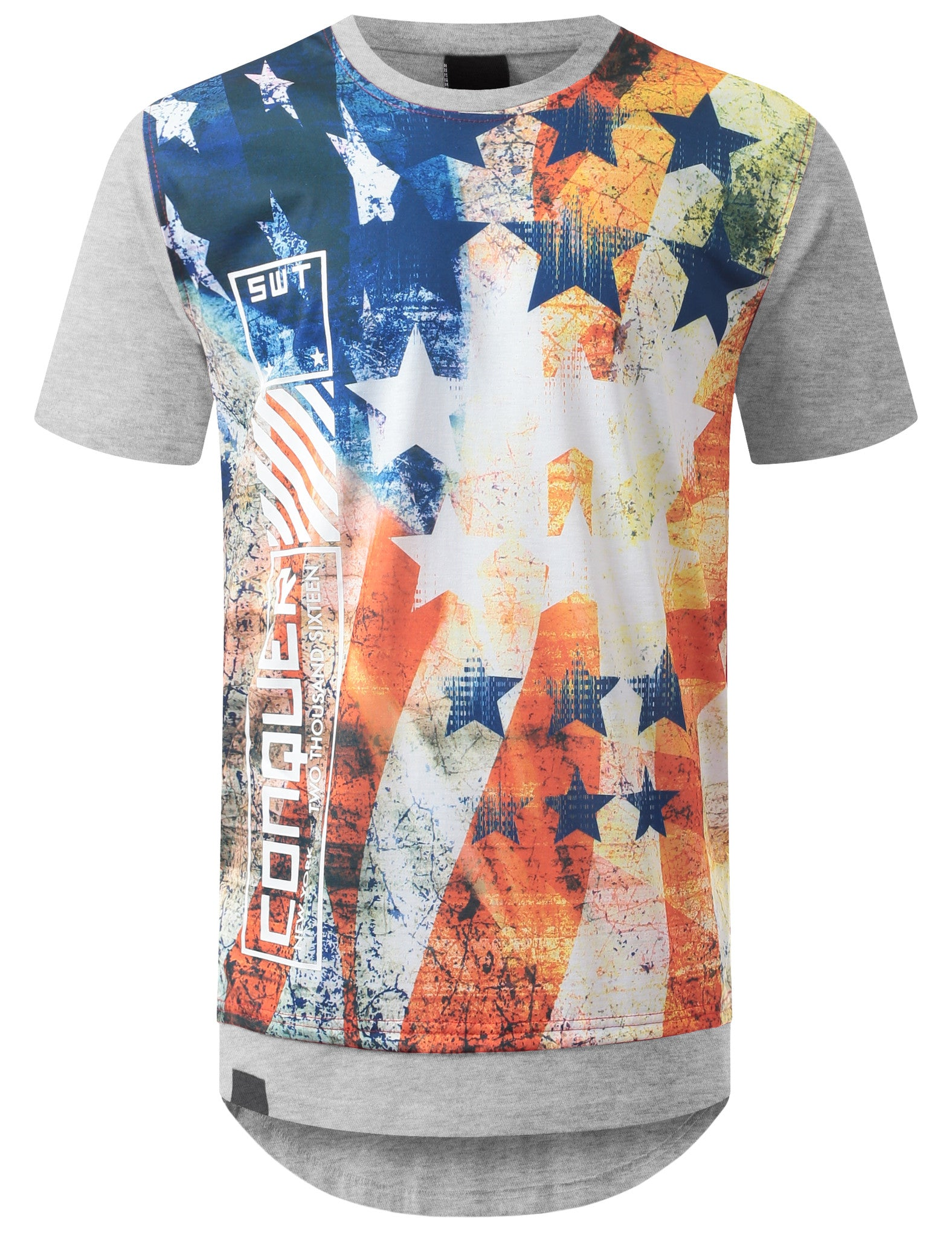 HGRAY USA Flag Conquer Longline Tshirt - URBANCREWS