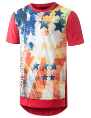 RED USA Flag Conquer Longline Tshirt - URBANCREWS
