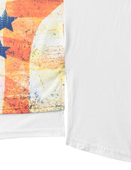 WHITE USA Flag Conquer Longline Tshirt - URBANCREWS