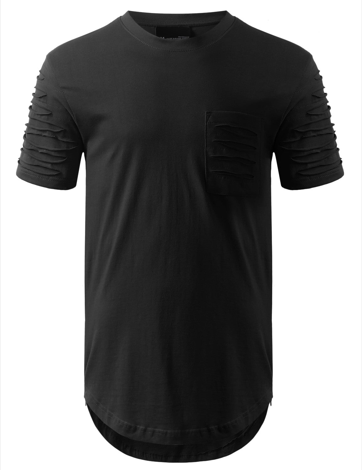 BLACK Ripped Chest Pocket Longline Crewneck Tshirts