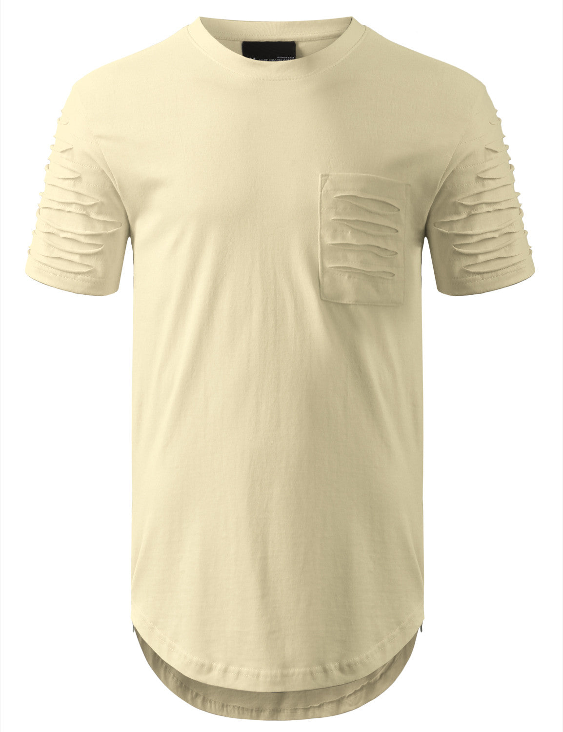 BONE Ripped Chest Pocket Longline Crewneck Tshirts