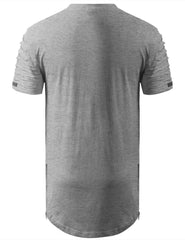 HGRAY Ripped Chest Pocket Longline Crewneck Tshirts