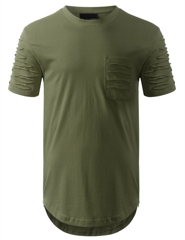 Ripped Chest Pocket Longline Crewneck Tshirts