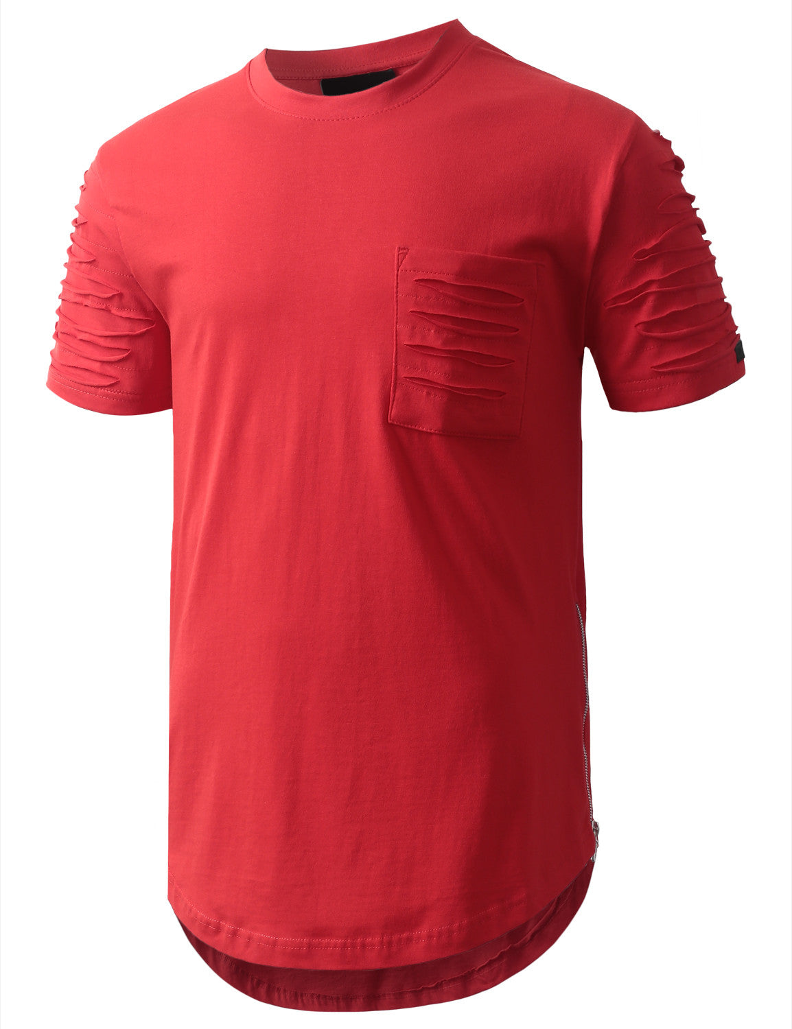 RED Ripped Chest Pocket Longline Crewneck Tshirts