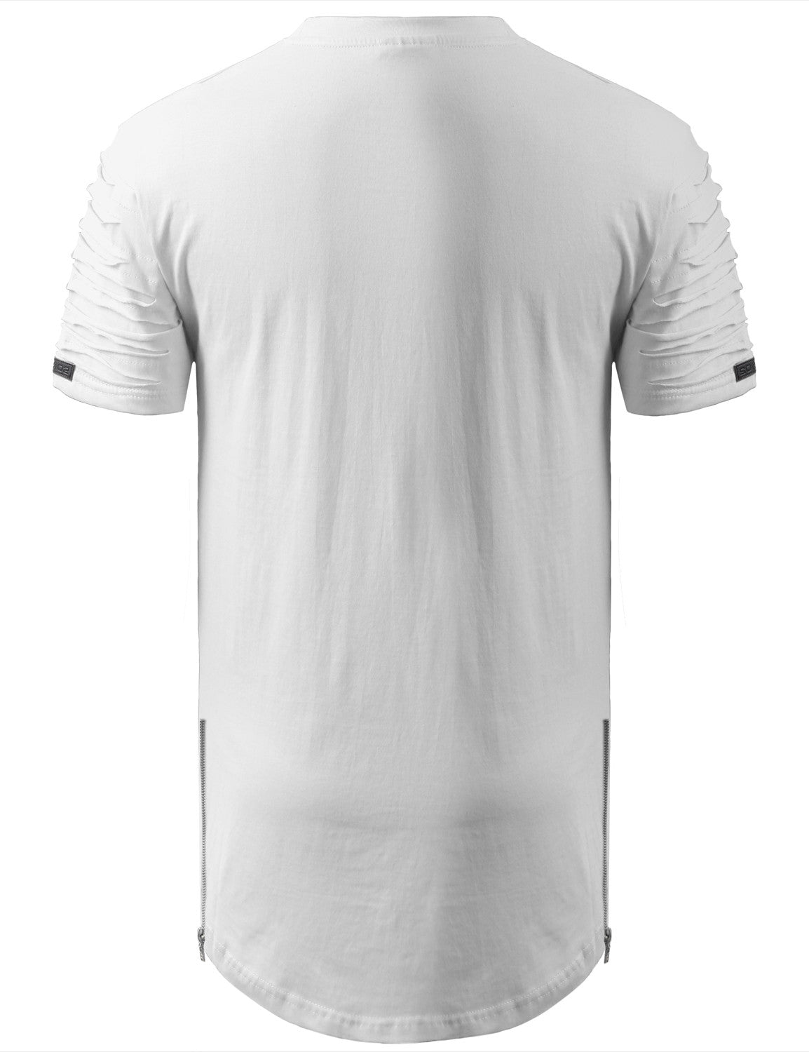 WHITE Ripped Chest Pocket Longline Crewneck Tshirts