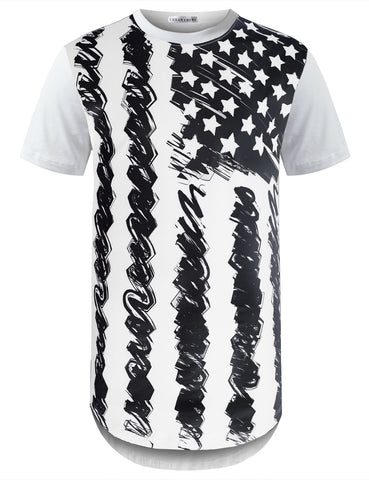 Black and White American Flag Longline Tshirts
