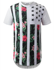 WHITE Tropical Floral USA Flag Longline Tshirts- URBANCREWS