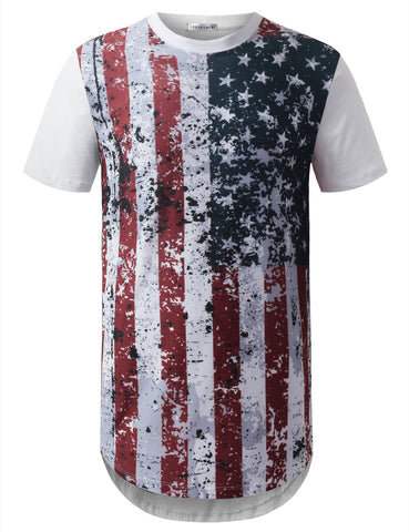 Splatter Paint USA Flag Longline Tshirts