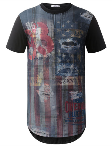 Denim USA Flag Longline Tshirts