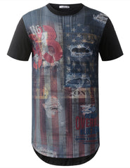 BLACK Denim USA Flag Longline Tshirts- URBANCREWS