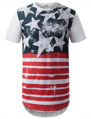 WHITE USA Flag Longline Tshirts- URBANCREWS