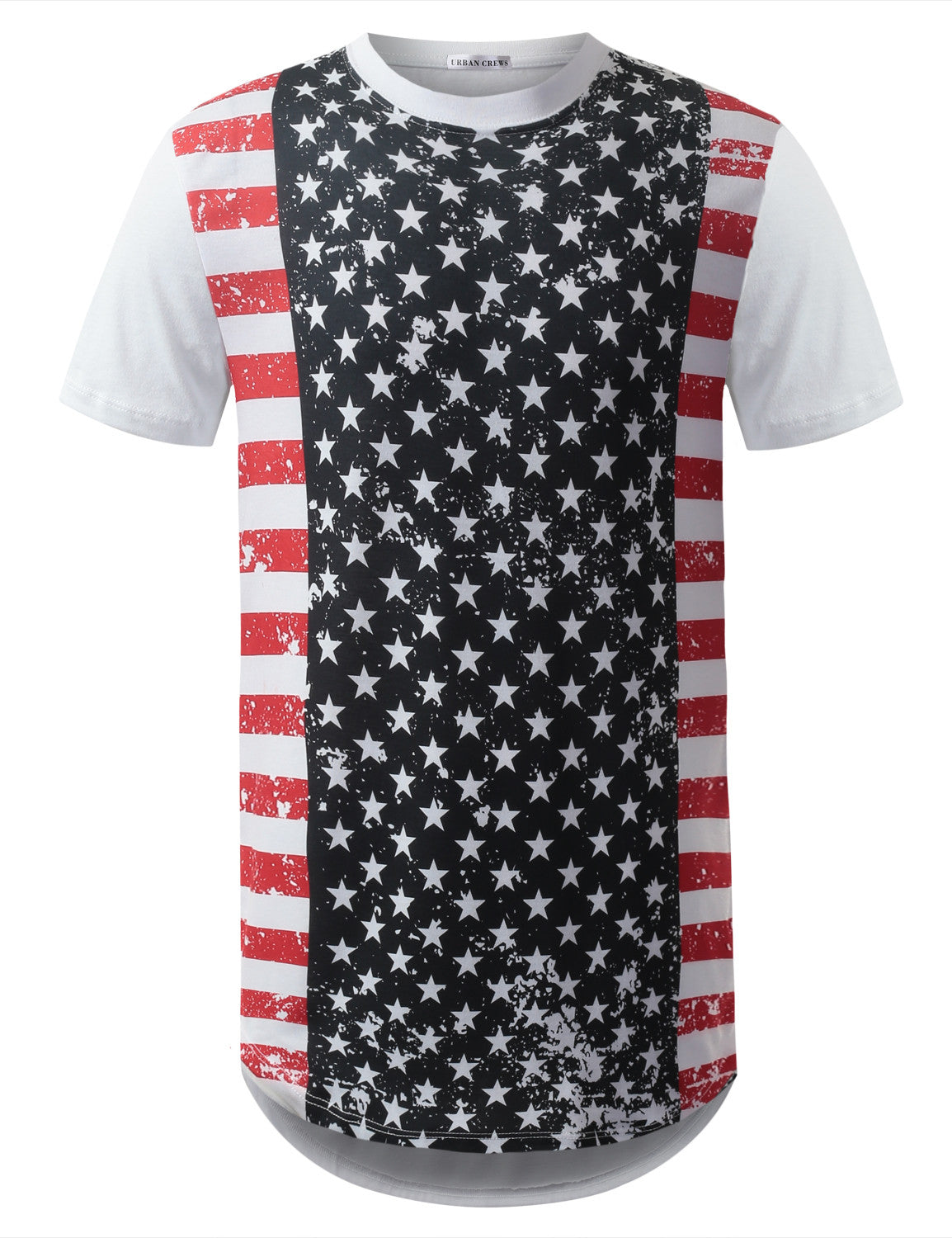 WHITE Stars USA Flag Longline Tshirts- URBANCREWS