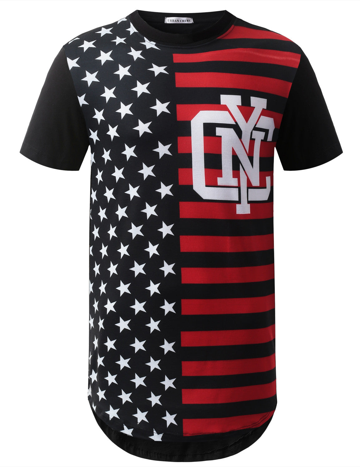 BLACK NYC USA Flag Longline Tshirts- URBANCREWS