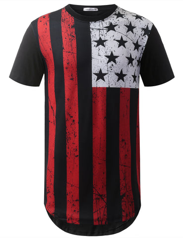 Red White USA Flag Longline Tshirts