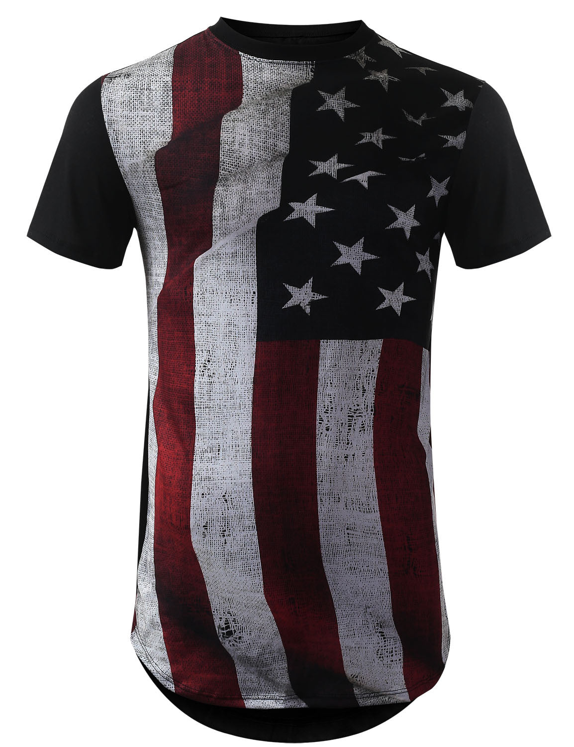 BLACK Vintage USA Flag Longline Tshirts- URBANCREWS