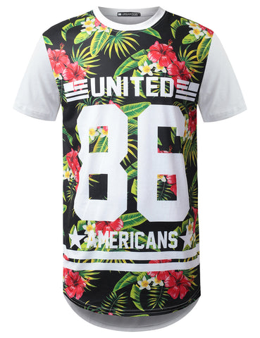 United 86 Floral Longline T-shirt