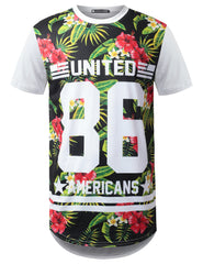 WHITE United 86 Floral Longline T-shirt - URBANCREWS
