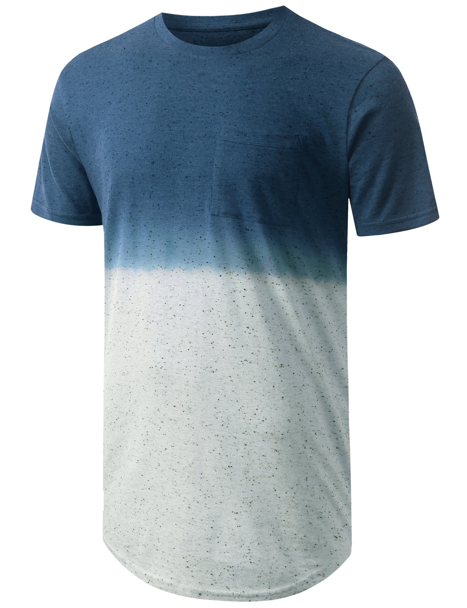BLUE Gradient Speckle Longline Crewneck Tshirts- URBANCREWS
