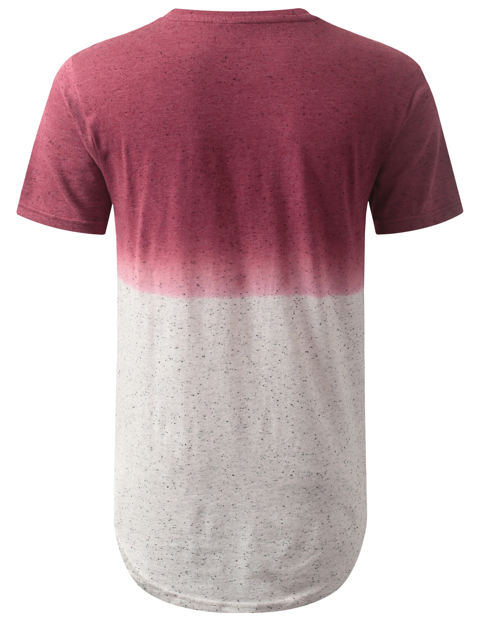 RED Gradient Speckle Longline Crewneck Tshirts- URBANCREWS