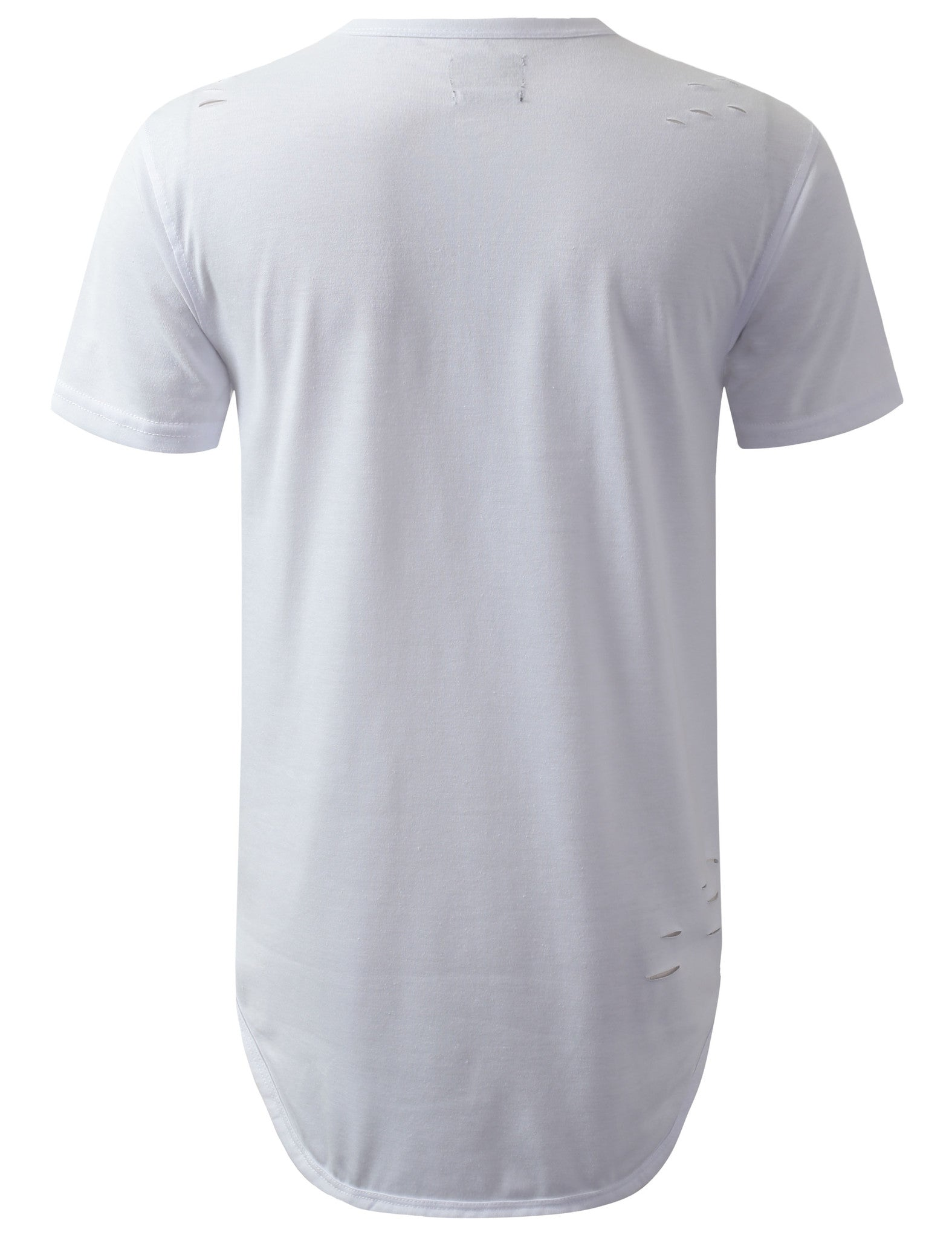 WHITE Ripped Henley Zipper Longline Crewneck Tshirt - URBANCREWS