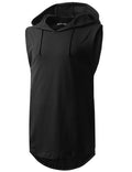 BLACK Longline Hooded Muscle Tank Top- URBANCREWS