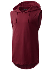 BURGUNDY Longline Hooded Muscle Tank Top- URBANCREWS