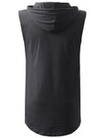 CHARCOAL Longline Hooded Muscle Tank Top- URBANCREWS