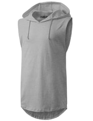 LTGRAY Longline Hooded Muscle Tank Top- URBANCREWS