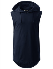 NAVY Longline Hooded Muscle Tank Top- URBANCREWS