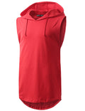 RED Longline Hooded Muscle Tank Top- URBANCREWS