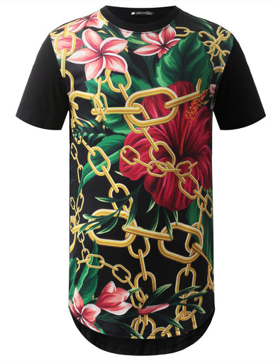 Gold Chain Floral Longline Crewneck Tshirts