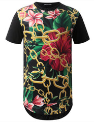 BLACK Gold Chain Floral Longline Crewneck Tshirts- URBANCREW