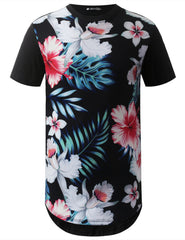 BLACK Blue Hawaii Floral Longline Crewneck Tshirts