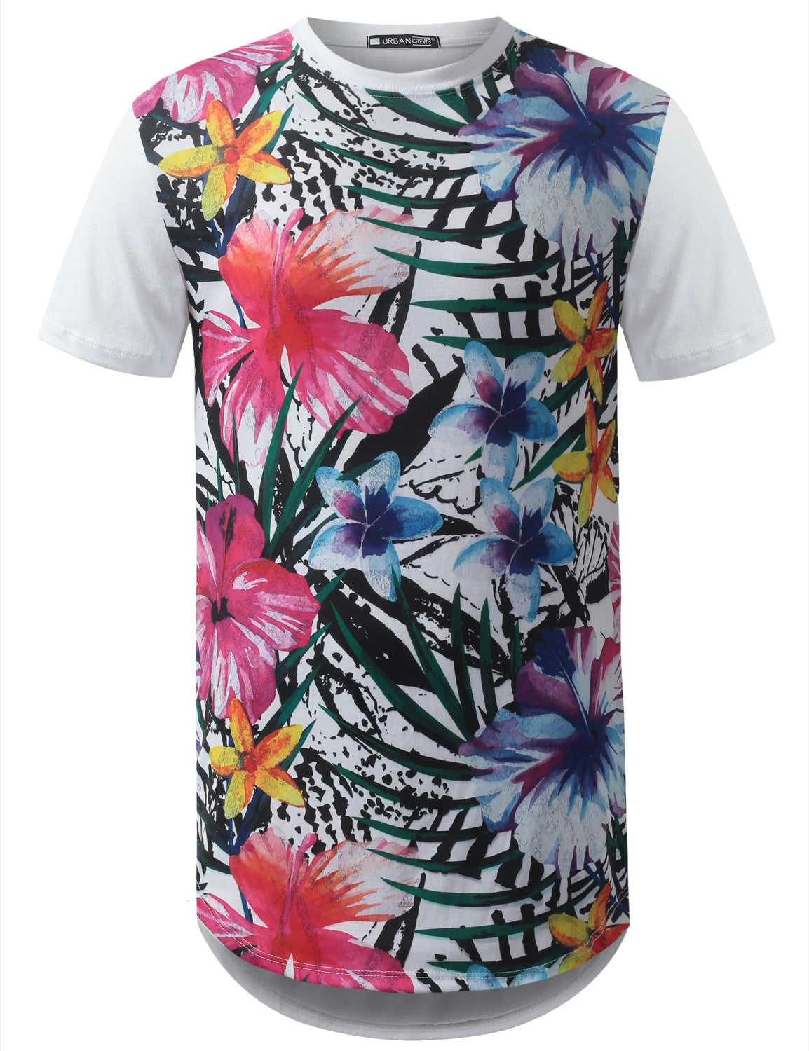WHITE Tropical Floral Longline Crewneck Tshirts- URBANCREWS