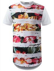 WHITE Floral Striped Longline Crewneck Tshirts- URBANCREWS