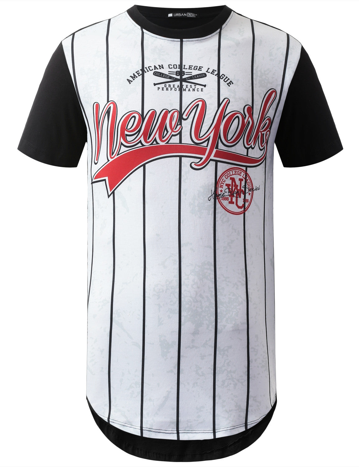 WHITE New York Jersey Longline Crewneck Tshirts- URBANCREWS