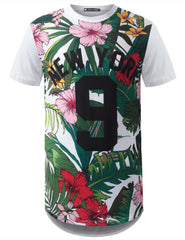 WHITE New York 9 Floral Longline Crewneck Tshirts- URBANCREWS