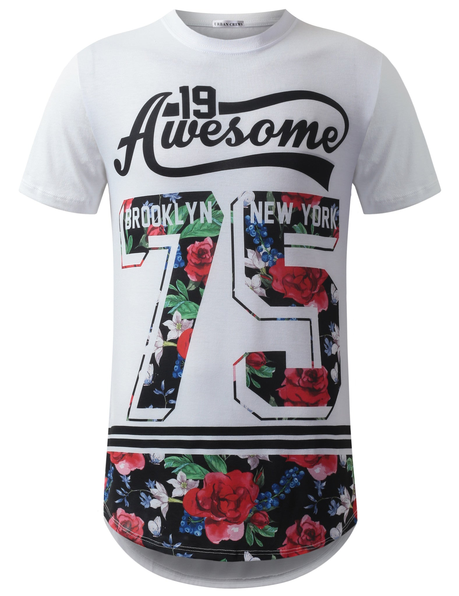 WHITE Awesome 75 Floral Longline Crewneck Tshirts- URBANCREWS