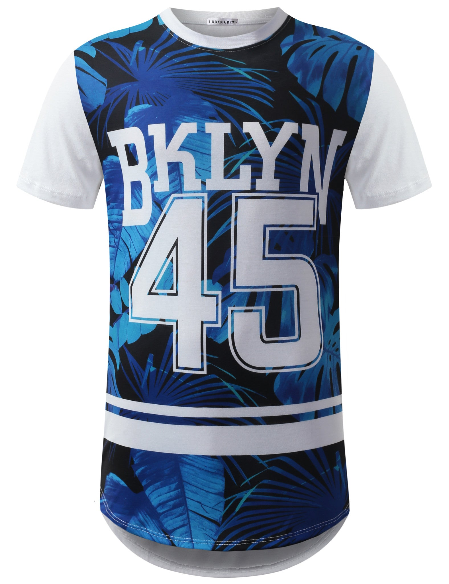 BLUE Brooklyn 45 Longline Crewneck Tshirts- URBANCREWS