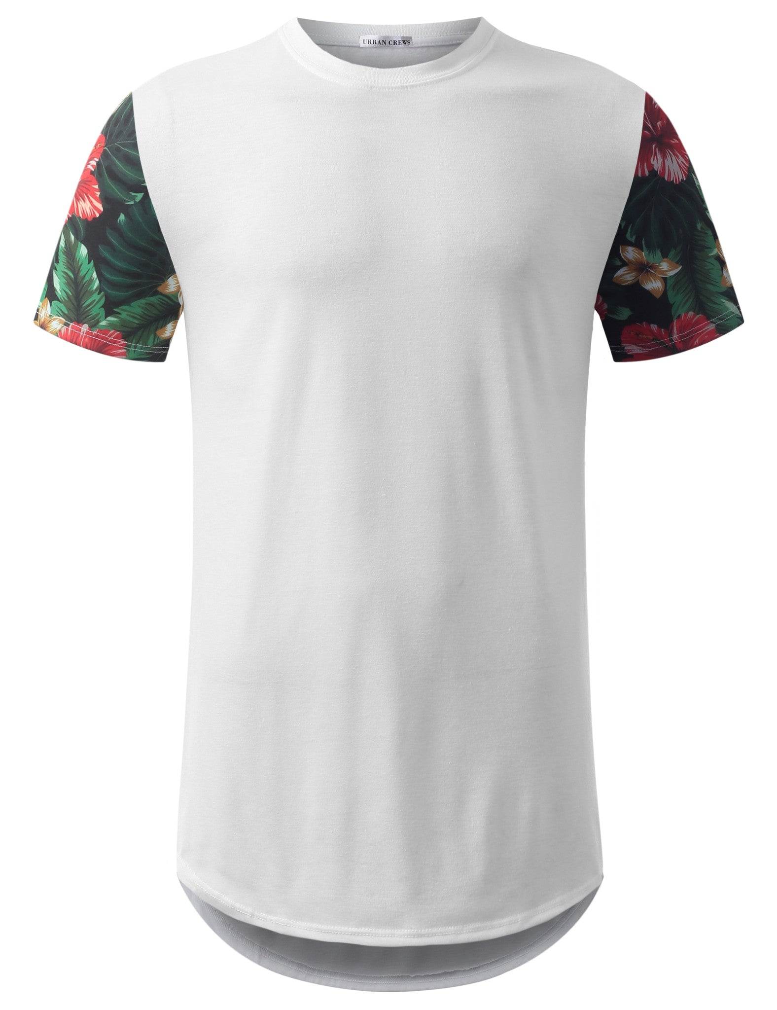 WHITE Red Sleeve Floral Longline Crewneck Tshirt- URBANCREWS
