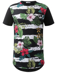 BLACK Stripe Floral Graphic Longline Crewneck Tshirts- URBANCREWS