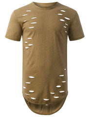 TIMBER Ripped Neppy Longline Crewneck Tshirts- URBANCREWS