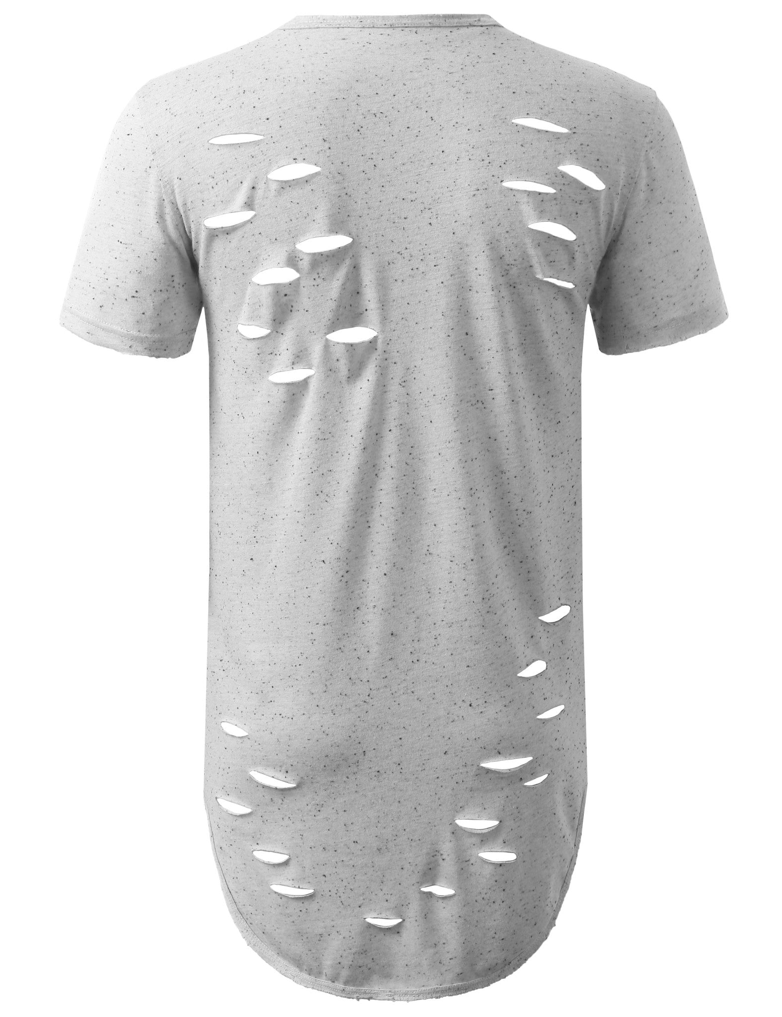 WHITE Ripped Neppy Longline Crewneck Tshirts- URBANCREWS