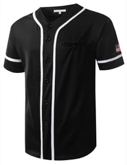 BLACK USA Flag Patch Button Down Baseball Jersey Shirts- URBANCREWS