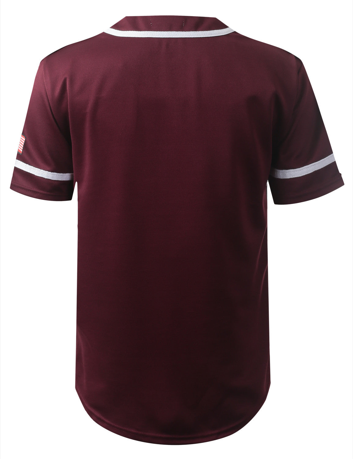 BURGUNDY USA Flag Patch Button Down Baseball Jersey Shirts- URBANCREWS