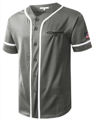 GRAY USA Flag Patch Button Down Baseball Jersey Shirts- URBANCREWS