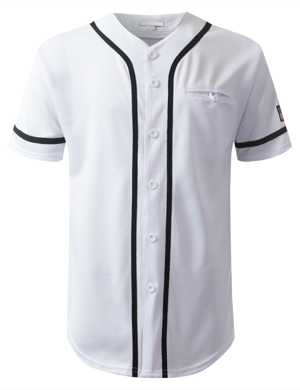 WHITE USA Flag Patch Button Down Baseball Jersey Shirts- URBANCREWS