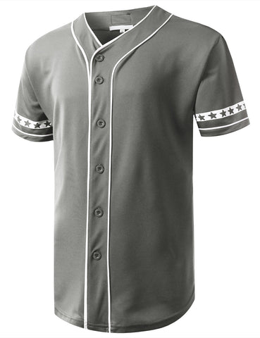 Star Flag Button Down Baseball Jersey