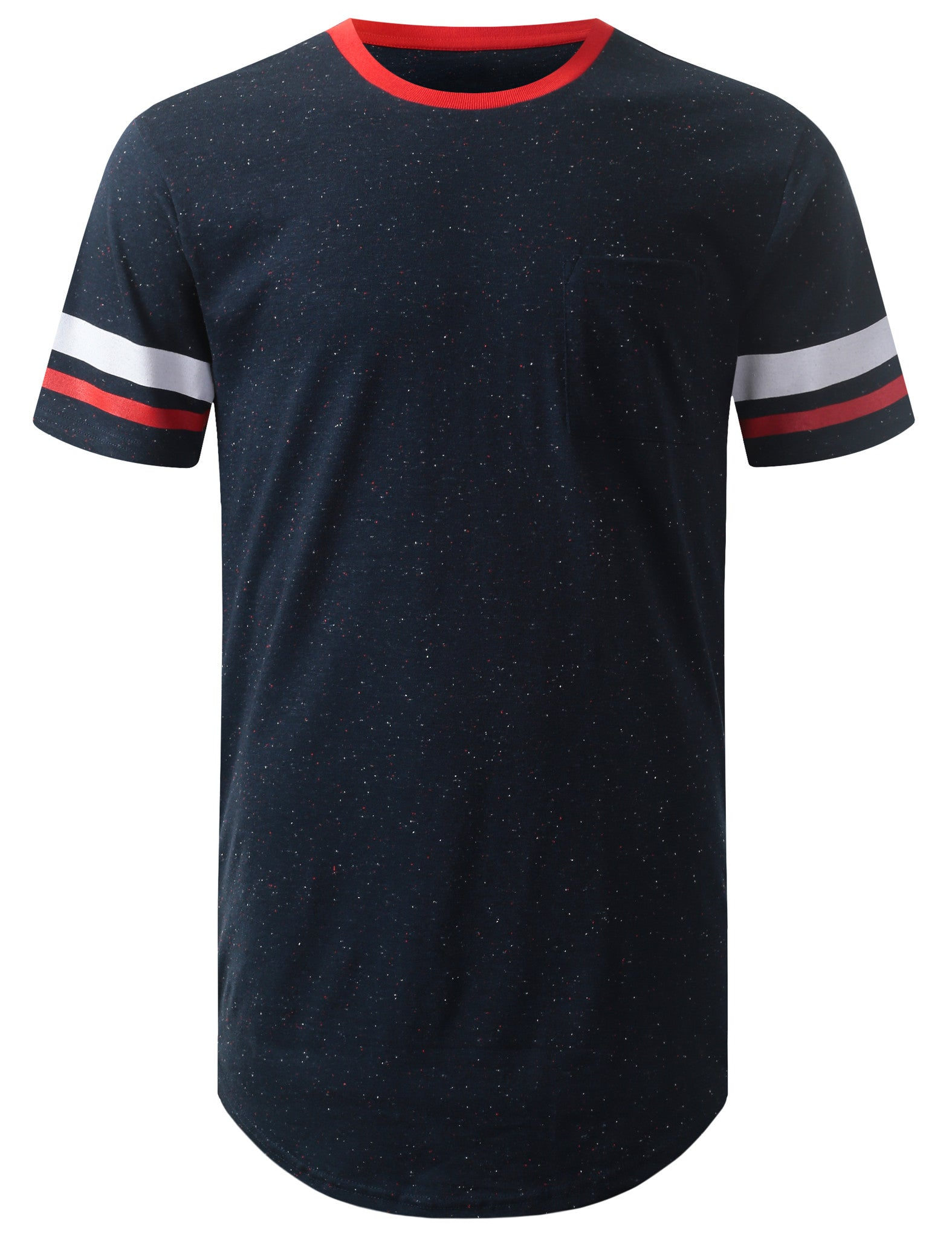 BLACK Speckle Pocket Longline Tshirt- URBANCREWS