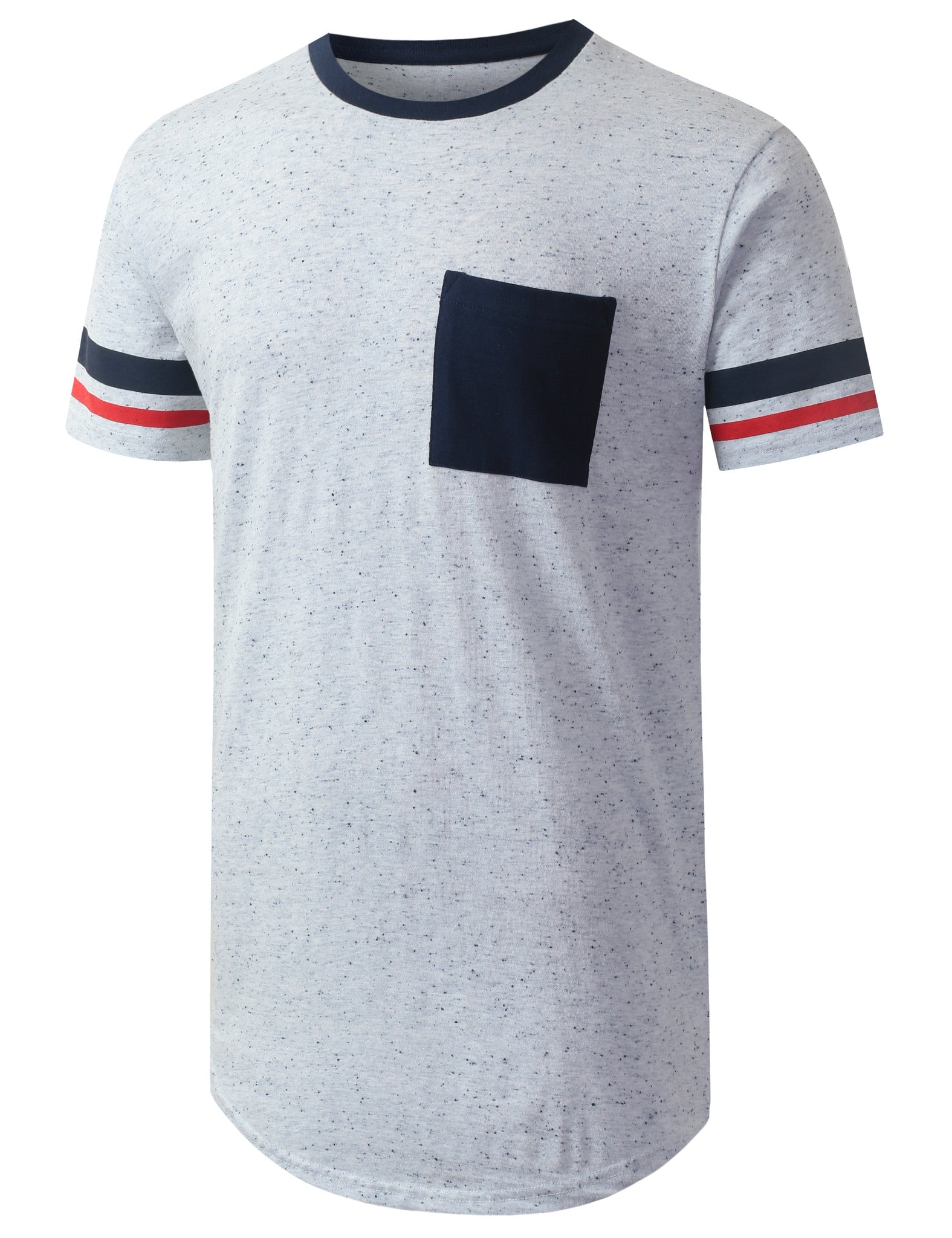 WHITE Speckle Pocket Longline Tshirt- URBANCREWS
